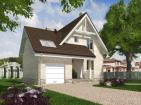 Одноэтажный дом с мансардой, террасой, балконом и гаражом